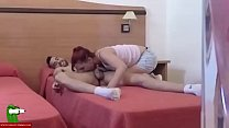A redhead eats cock in the bed with red sheets. SAN186 Thumbnail