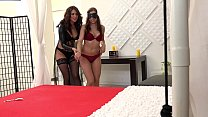Brunette babes drink piss and cum during kinky video Image