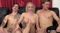 Hot blonde gangbanged in her living room
