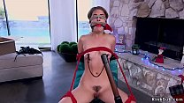 Delivery guy ties and torments brunette
