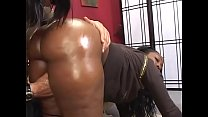 Thick ebony skank Beauty Dior rides a white cock then gets cum all over her big ass indoors's Thumb