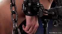 Blonde in device bondage ass lashed
