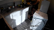 Horny wife seduces a plumber in the kitchen while her husband at work.