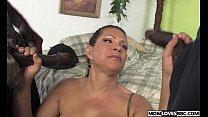 Teri Weigel takes two black cocks in front of her son صورة
