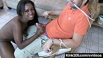 Ebony Simone Styles Ties Up Electrician & Bangs...