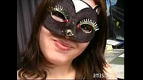 Sweet and smiley masked girl jerking off