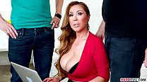 Busty asian MILF Kianna Dior takes two dicks preview image