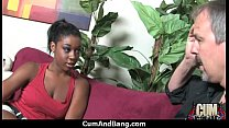 Ebony chick fucked hard in group sex action 18
