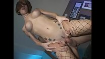 Hot tattooed brunette with great tits is anal fucked standing in living room