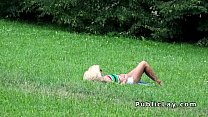 Blonde sun bathing and fucking pov in public