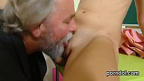 Sweet bookworm gets seduced and reamed by her older mentor