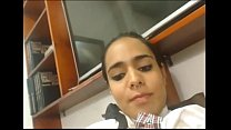 Latina Shemale Blows a Load All Over Herself