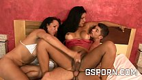 Two hots shemales fucking hard in a anal threesome