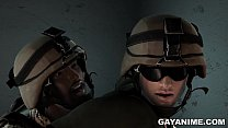 3D cartoon soldier gets fucked in the ass by an ebony hunk