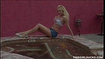 hot blonde sucks cock by the pool porn image