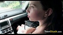 cute teen fucked in car quickly after she got in