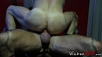 Homo smashes butt of his plaything and cums on his ass