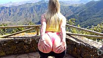 Hot Blonde Tourist Flashing Her Big Booty Outdo...