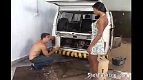 Ebony shemale f ucking in the garage arage