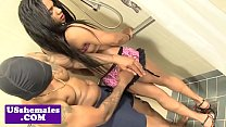 Black natural trans ass pounded in the shower