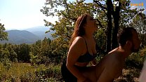 Pegging him and sex with her on the mountain with a great view. Lick sperm