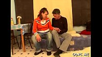 Skinny non-professional slut gets licked and rides an old ramrod wildly