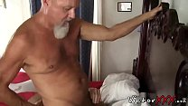 Hairy dad with piercing loves hard bareback sex and blowjob