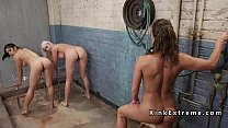 Hot slaves getting double enema in lezdom