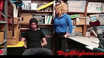 Busty shoplifter fucking and getting cumshot as punishment