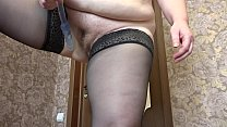 Mature milf in stockings  and with fat ass fuck anal and hairy pussy before webcam. thumbnail