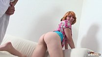 Image: Redhead with monster natural tits ride cock like crazy