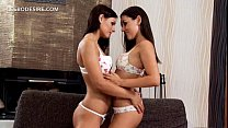 Lesbo beauties touching bodies and kissing with lust