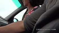 Shaved pussy teen fucks in strangers car Preview