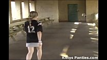 Kitty playing in a football jersey and miniskirt pornhub video