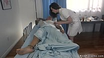 Baldheaded patient fucks tied nurse
