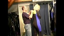 Blonde milf double penetrated in a shop />