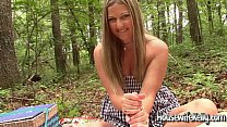 Kelly gives an outdoor handjob's Thumb