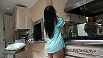 Petite Asian without panties banging in kitchen