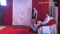 Shy nerd gets wild striptease from two czech girls preview image