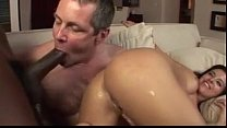 Black cock from wife's ass to husband's mouth.