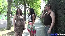 Slutty brunette Jeny gets fucked by two guys