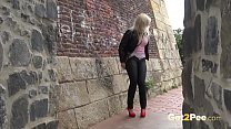 Blonde nearly gets caught wetting her panties in public Image