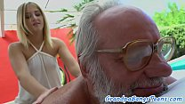 Cock loving teen pounded by lucky grandpa