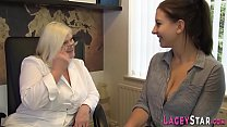 Mature doctor lesbian eats out toying babe