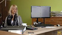 LOAN4K. Blonde-haired miss has sex for cash with handsome loan agent