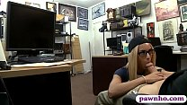 Tight blonde babe with glasses railed by pawn keeper