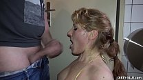 Blonde wife sucks off many strangers at the mens room preview image