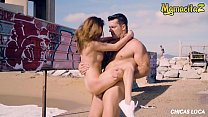 CHICAS LOCA - #Ramon Nomar #Sandra Wellness - Crazy Russian Teen Rides Daddy At The Beach With People Walking By