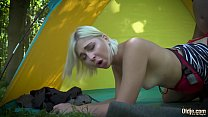Lusty teen blonde bang grandpa in the woods صورة