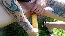 Lucy Ravenblood fucking pussy with corn in public